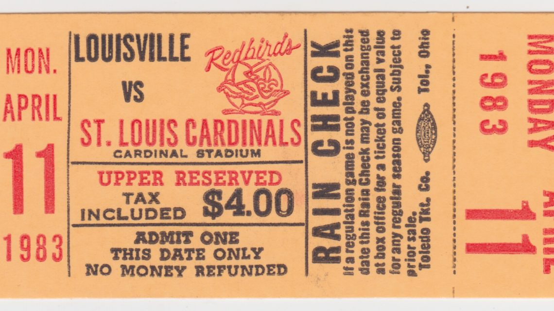 1983 Louisville Redbirds ticket stub vs St. Louis Cardinals 4/11/1983