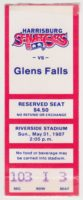1987 Harrisburg Senators ticket stub vs Glens Falls Tigers