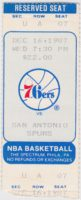 1987 NBA Spurs at 76ers ticket stub
