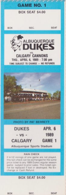 1989 MiLB PCL Calgary Cannons at Albuquerque Dukes ticket stub