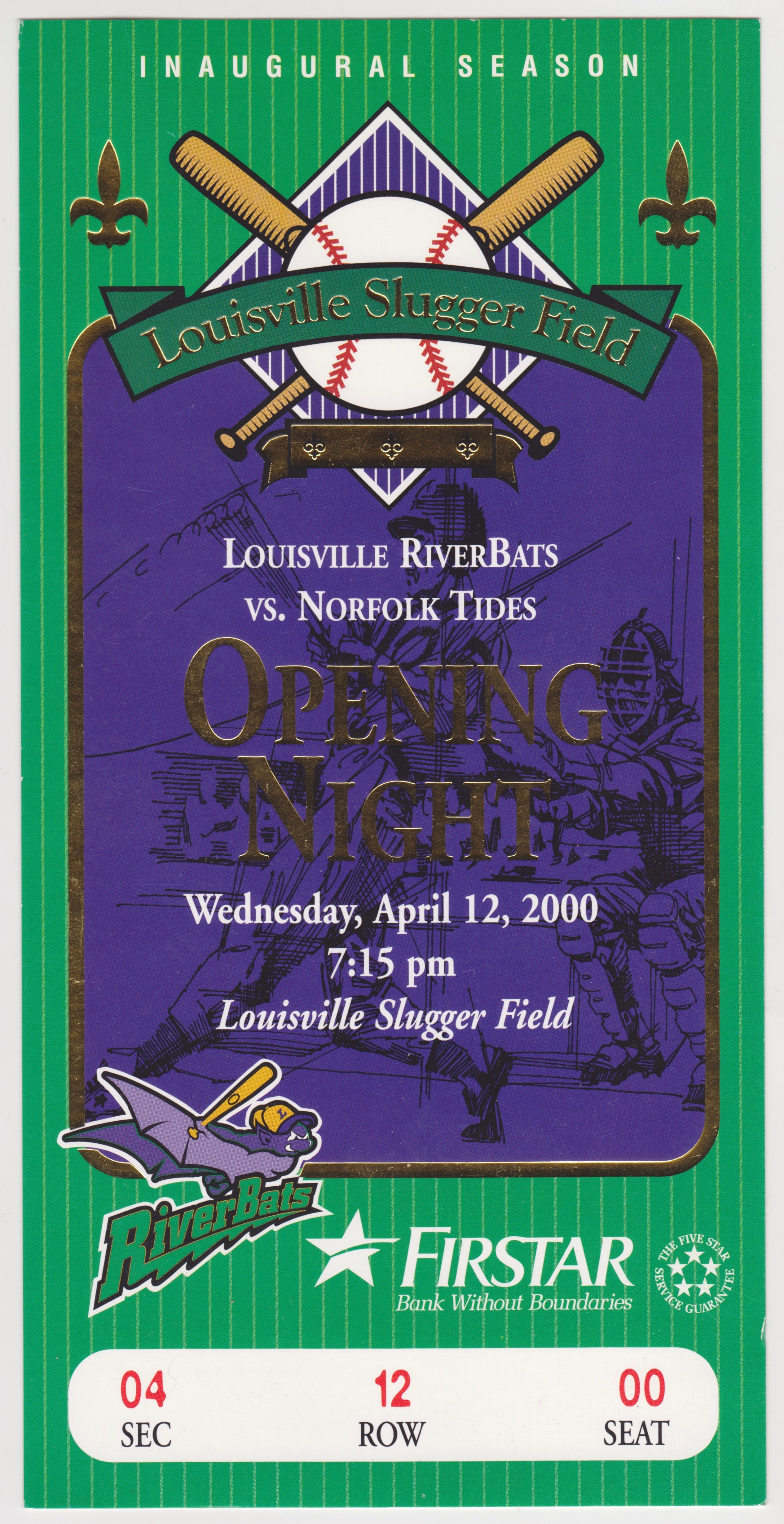 2000 RiverBats ticket stub vs Tides