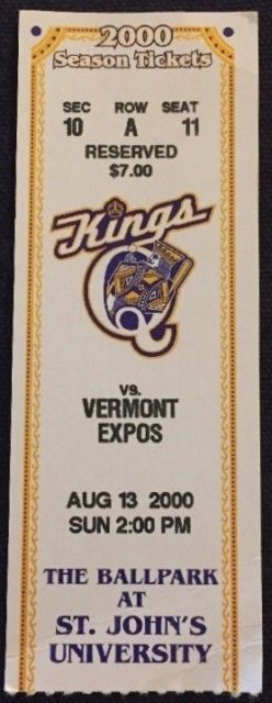 2000 MiLB NY-Penn League Vermont Expos at Queens Kings ticket stub