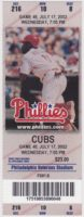 2002 Phillies ticket stub vs Cubs