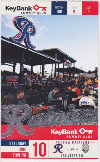 MiLB PCL Las Vegars 51's at Tacoma Rainiers ticket stub