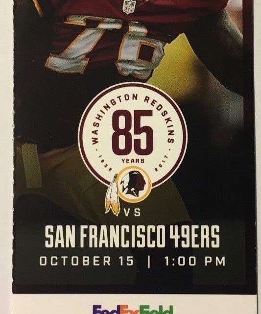 2017 NFL 49ers at Redskins ticket stub