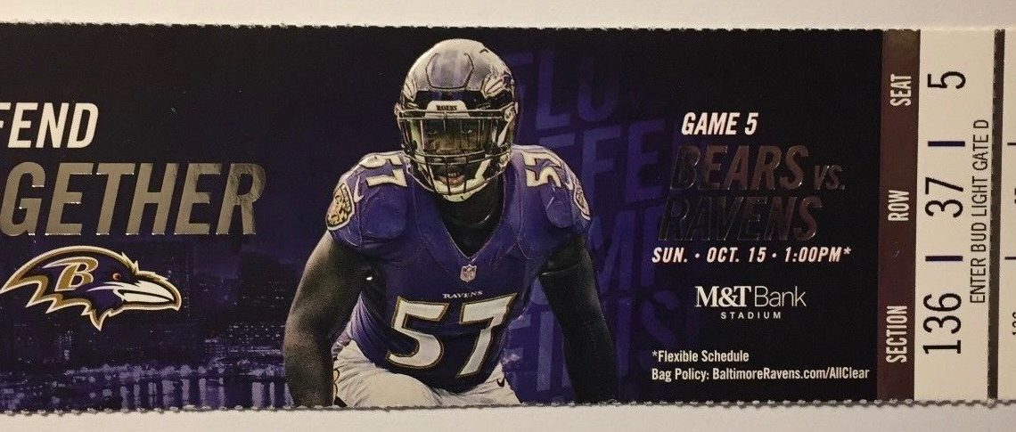 2017 NFL Bears at Ravens ticket stub
