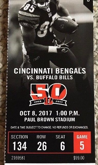 2017 NFL Bills at Bengals ticket stub