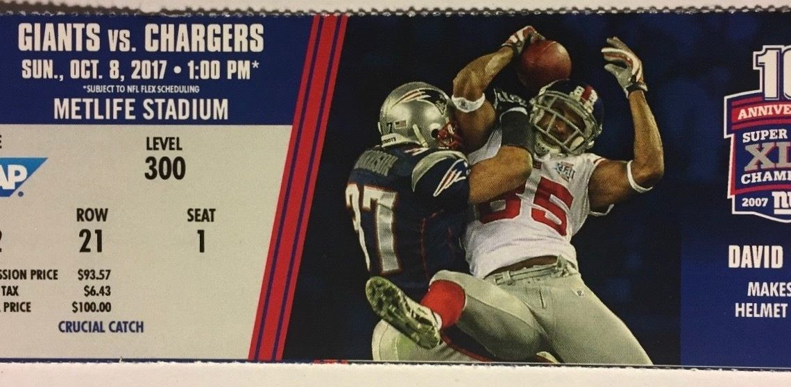 2017 NFL Chargers at Giants ticket stub