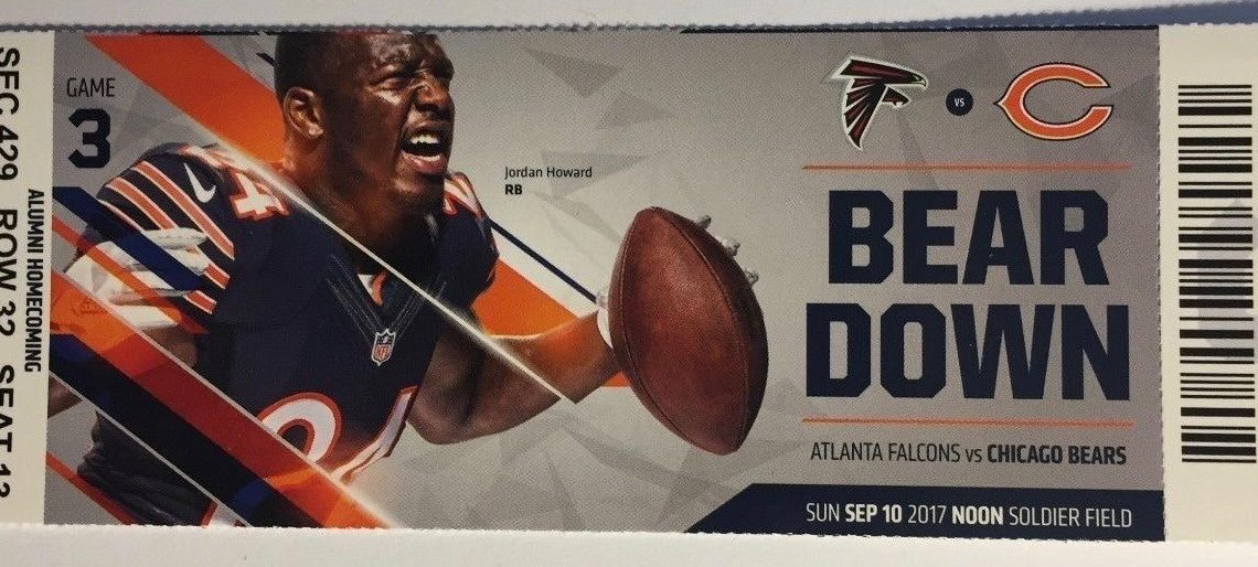 2017 NFL Falcons at Bears ticket stub