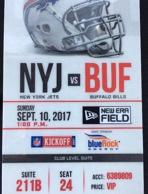 2017 NFL Jets at Bills ticket stub
