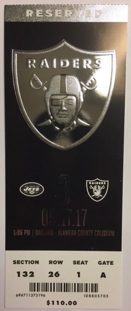 2017 NFL Jets at Raiders ticket stub