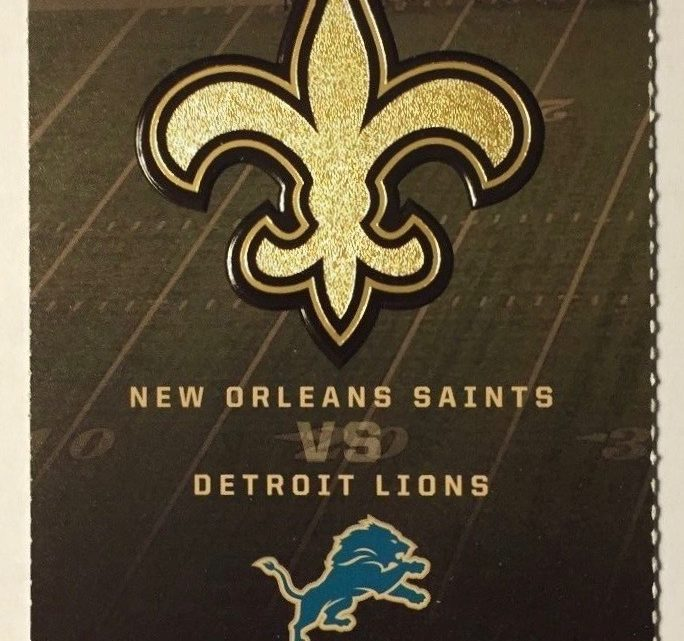 2017 NFL Lions at Saints ticket stub