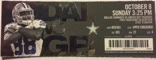 2017 NFL Packers at Cowboys ticket stub