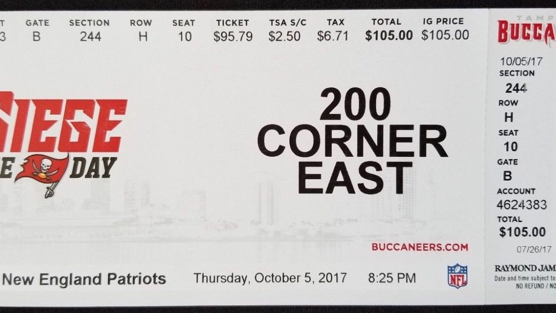 2017 NFL Patriots at Buccaneers ticket stub