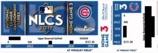 2017 NLCS Game 5 Dodgers at Cubs ticket stub