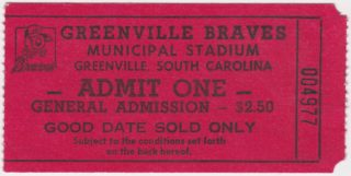 1988 Greenville Braves ticket stubs