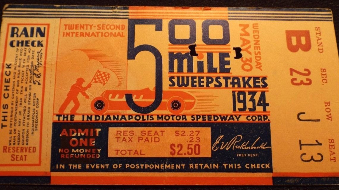 1934 Indianapolis 500 ticket stub