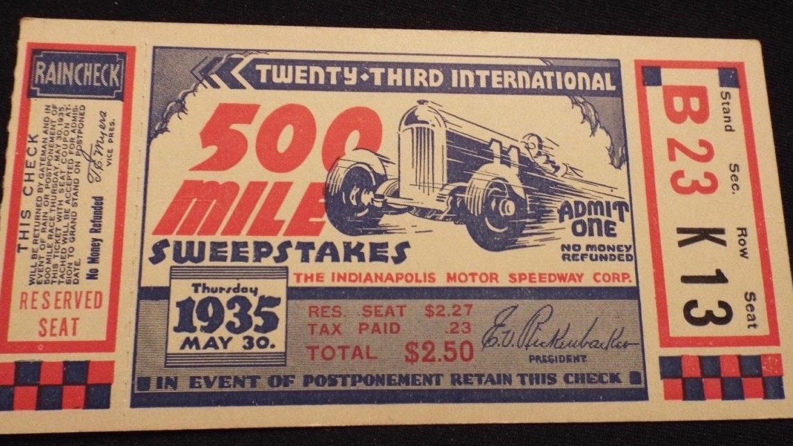 1935 Indianapolis 500 ticket stub