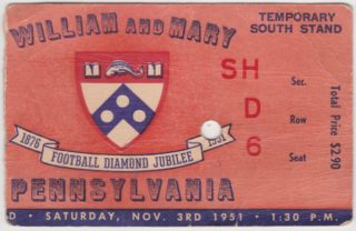 1951 NCAAF Pennsylvania at William and Mary ticket stub