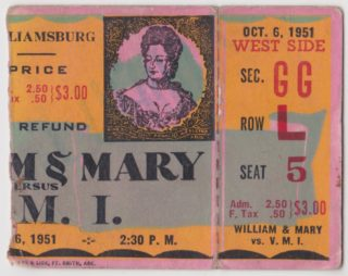1951 NCAAF Virginia Tech at William and Mary ticket stub