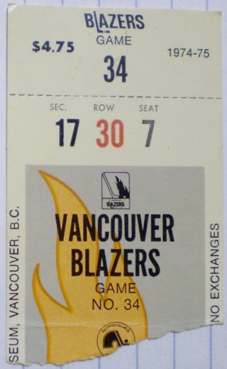 1975 WHA Quebec Nordiques at Vancouver Blazers ticket stub