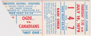 1979 MiLB PCL Ogden A's at Vancouver Canadians
