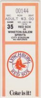 1988 MiLB Carolina League Winston-Salem Spirits at Lynchburg Red Sox ticket stub