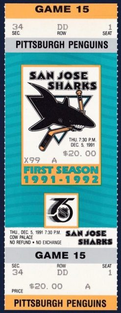 1991 NHL Penguins at Sharks ticket stub Kevin Stevens hat trick