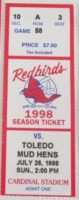 1998 MiLB Toledo Mud Hens at Louisville Redbirds ticket stub