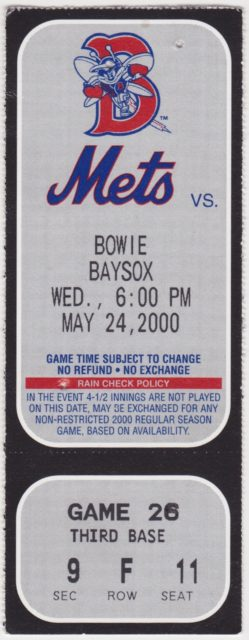 2000 MiLB Eastern League Bowie Baysox at Binghamton Mets ticket stub