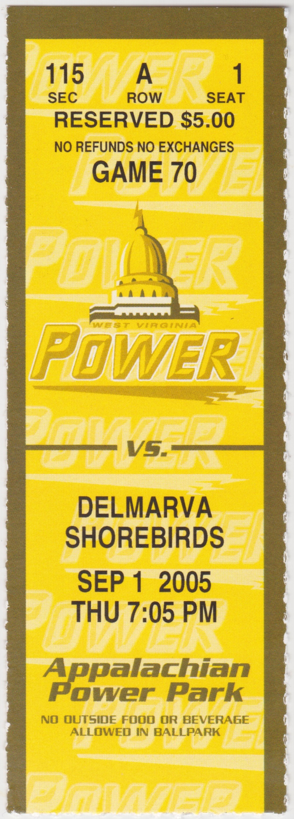 2005 West Virginia Power ticket stub vs Delmarva