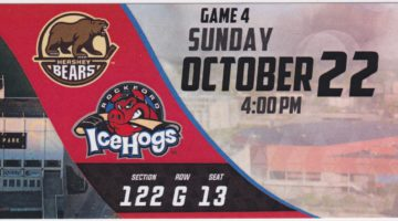 2017 AHL Hershey Bears at Rockford IceHogs ticket stub