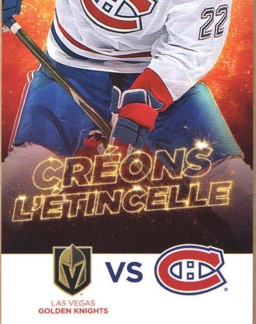 2017 NHL Golden Knights at Canadiens ticket stub
