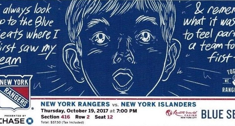 2017 NHL Islanders at Rangers ticket stub