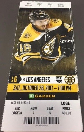 2017 NHL Kings at Bruins ticket stub