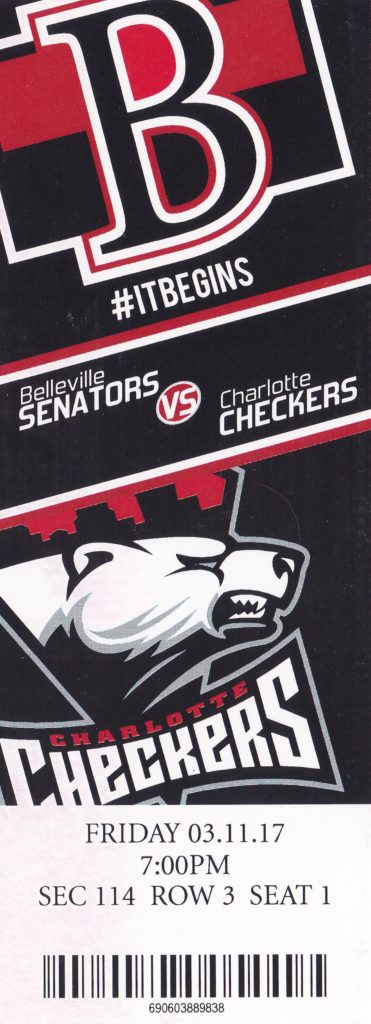 2017 AHL Belleville Senators ticket stub vs Charlotte