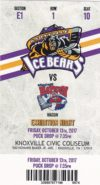 2017 SPHL Knoxville Ice Bears ticket stub vs Macon Mayhem
