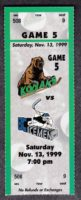 1999 UHL Madison Kodiaks ticket stub vs BC Icemen