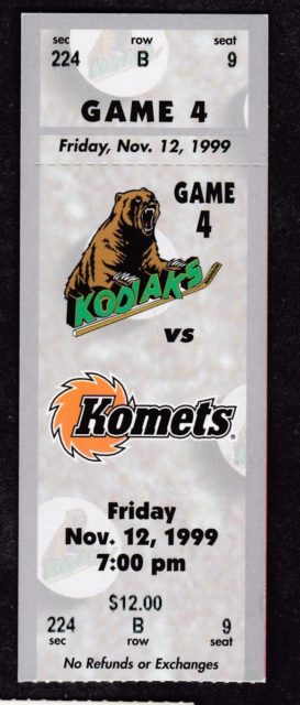 1999 UHL Madison Kodiaks ticket stub vs Ft. Wayne Komets