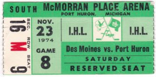 1974 IHL Port Huron Flags ticket stub vs Des Moines