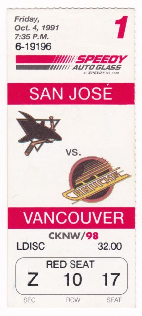 1991 NHL Sharks at Canucks
