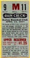 1954 MiLB Texas League Dallas Eagles ticket stub