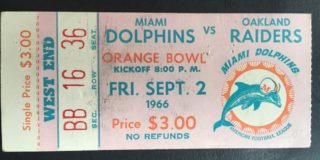 1966 NFL Raiders at Dolphins