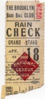 1908 Brooklyn Superbas Ticket Stub