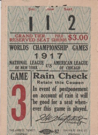1917 World Series Game 6 White Sox at Giants