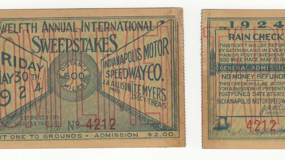1924 Indianapolis 500 Ticket Stub