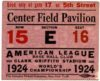1924 World Series Ticket Stub Giants at Senators