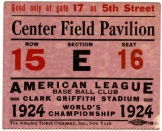 1924 World Series Giants at Senators ticket stub