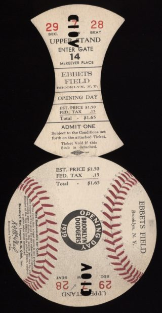 1939 MLB Giants at Dodgers opening day ticket stub
