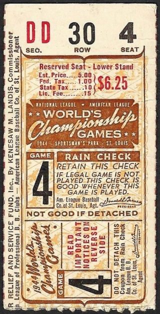 1944 World Series Game 4 Ticket Stub Cardinals at Browns